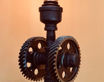 Steampunk Table Lamp by SteampunkPro. Industrial black iron pipe lamp.