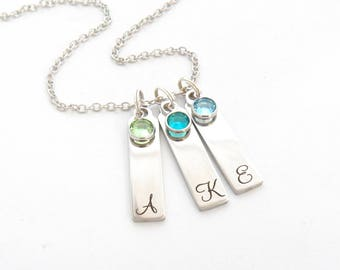 Birthstone Necklace- Mothers Day Jewelry-Initial Jewelry-Gifts for Mom from kids-Engraved Bar Necklace-Grandmother Gift-From grandkids