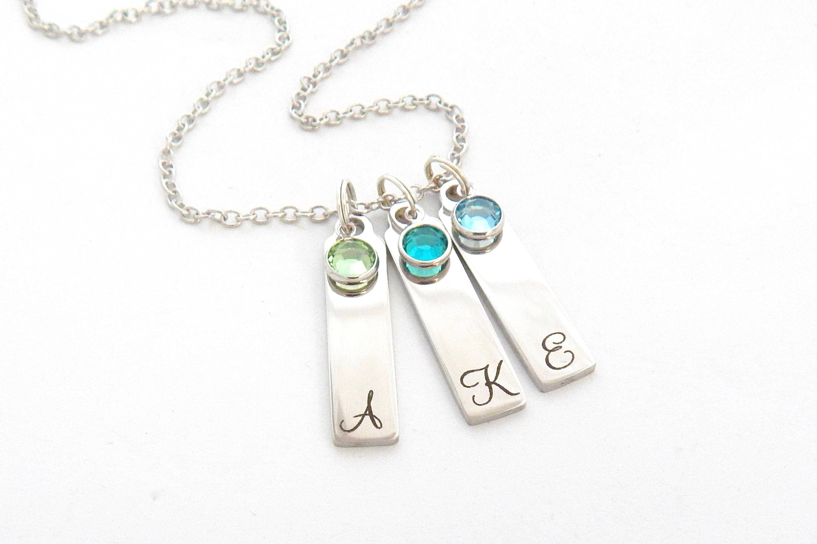 tag with grandmothers grandkid for stamped one initial grandchild s silver birthstone charm grandmother necklace