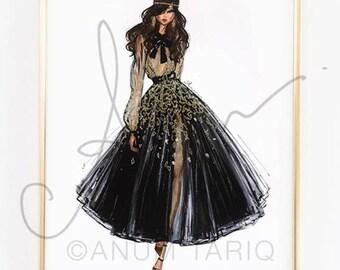 "Fashion Illustration Print, Elie Saab Couture, 11x14"""