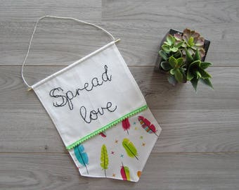 Banner Embroidered Spread Love
