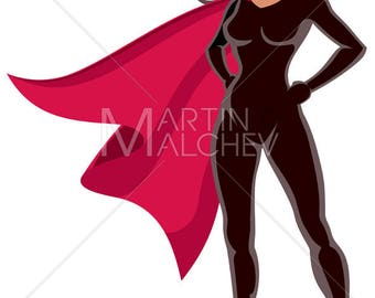 Super Heroine Asian - Vector Clipart Illustration. superwoman, superhero, female, superheroine, hero, woman, girl, power, body, sexy, asian,