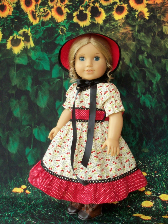 "Like American Girl Doll Clothes / Historical  Prairie Girl Gown & Bonnet for 18 "" Dolls / 18 Inch Doll Clothes"