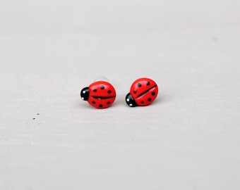 Fimo earrings, ladybird, fimo animals, stud earrings, gift for her, handmade earrings, girl earrings, small earrings