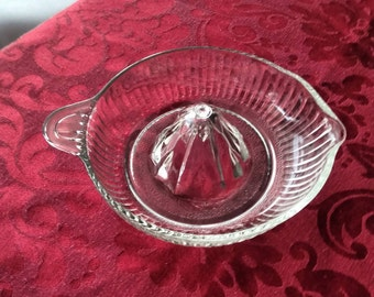 Vintage Glass Juicer , Clear Glass Juicer , Ribbed Citrus Reamer ,Anchor Hocking , Tab Handle , Large Size