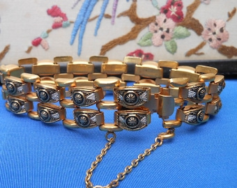 SALE - TOLEDO GOLD Bracelet - Link Bracelet - Damascene - Black and gold - silver - Vintage bracelet - Vintage - Gift for her - Retro 1960's