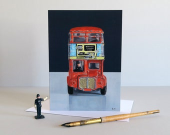 Red Bus card, London Bus card, Double decker bus, London cards, London Transport, London gifts,Diecast toy, vintage toys - BEST OF BRITISH -