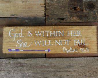 God is within her Sign. Reclaimed wood sign.4MenAndALadyCrafts. Nursery Sign. Inspirational Signs. Gifts. Psalms 46 Sign. Rustic. Arrow sign