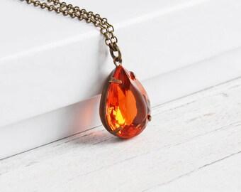Orange Rhinestone Necklace, Hyacinth Orange Teardrop Necklace on Antiqued Brass Chain, Vintage Glass, Autumn Jewelry