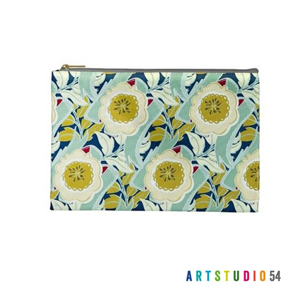 """Floral Pattern on a Pouch, Make Up, Cosmetic Case Travel Bag Pencil Case - 9"""" X 6"""" -  Large -  Made by artstudio54"""