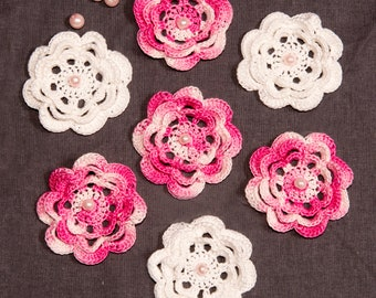 White and pink 3D Crocheted cotton flowers, Embellished  with beads, Set of 7, Crocheted Flower Appliqués, craft supplies, wedding decor