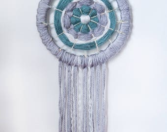 Teal and Gray Woven Dreamcatcher