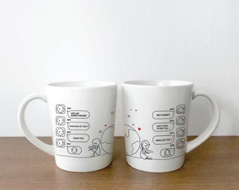 His and Hers Couple Coffee Mugs, Long Distance Mug, Long Distance Relationship Gift, Long Distance Boyfriend Gift, LDR Gift Wish You're Here
