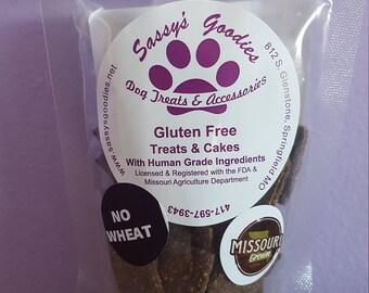 Hand crafted, wheat free, healthy dog treats (2 oz bag)