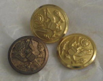Gold Tone US  Eagle Buttons Waterbury 3 pieces 15mm