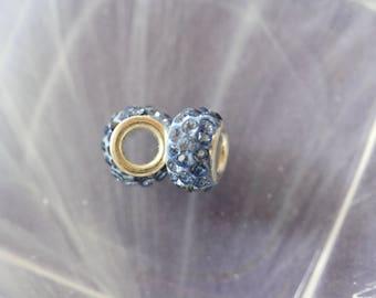 metal blue rhinestone charm bead