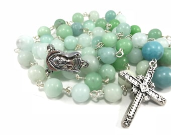 Amazonite Rosary; Aqua Gemstone Rosary; Blue Green Catholic Rosary, Blue Green Traditional Rosary Prayer Beads Healing Rosary Crucifix