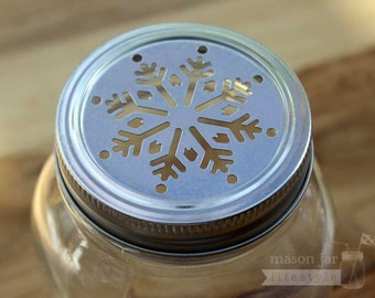 Snowflake Lid Inserts for Regular Mouth Mason Jars 5-pack / Christmas / Holiday