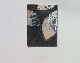 Small original hand printed  mini leaf print ACEO Black Peachy Pink Aqua blue Stef Mitchell  mid century modernist  wall art FREE SHIPPING
