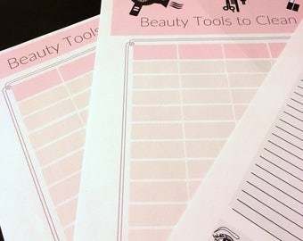 Make Up Inventory and Beauty Tools Care sheets