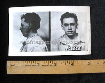 "1950's  Mug Shot Pennsylvania Police Criminal ""Blackie"" 1950 Long Hair"