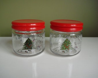 Vintage Christmas Storage Jars - Set of Two