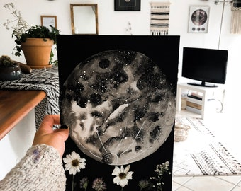 Watercolor and dried flowers moon planet Galaxy illustration poster