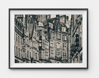 Edinburgh Photography, Print, Scotland Photography, Scottish Decor, Skyline, Urban Photography, City Art, Architectural Decor, Brown Tintype