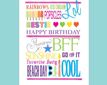 Girls Social Cards - Girls Birthday Cards - Girl Thank You Notes - Peace Love Thank You - Cards for Girls - Girl Greeting Cards - BFF - OMG