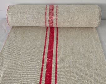 Red Stripe Vintage Linen - By the Metre