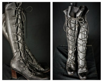 SALE: 60s Italian Leather Hippie Lace Up Boots / Penny Lane Leather Boots / True Vintage 60s Leathe GoGo Boots / Hippie Lace up Leather Boot