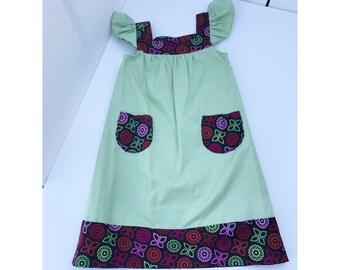 Green shoulder ruffle dress-child size 7-8