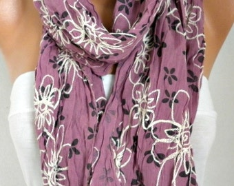 Floral Embroidered Scarf Shawl Cotton Spring Easter Gift Cowl  Scarf Gift Ideas For Her Women's Fashion Accessories