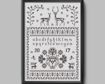 The Stag, the Doe & the Autumn -Traditional folk embroidery sampler w/deer motif