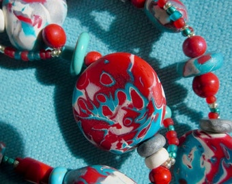 Polymer Clay Beaded Long Strand Necklace. KILIA 8. Turquoise. Red. White. Silver. Wearable Art Necklace. Mokume Gane. Multifunction
