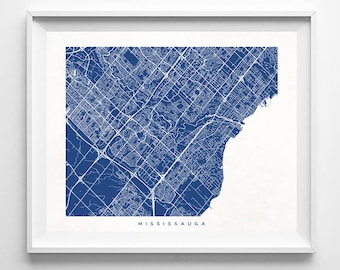 Mississauga Map, Canada Print, Mississauga Poster, Canadian Art, Bathroom Wall Art, Bedroom Wall Art, Anniversary Gift, Mothers Day Gift