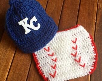 KC Royals baby, Newborn baby Kansas City Royals cap and diaper cover set