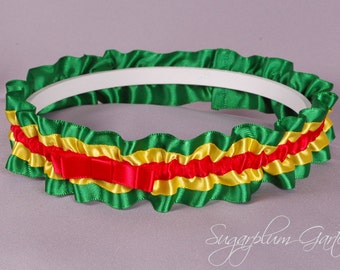 Rasta Wedding Garter in Red, Yellow and Green Satin with Tailored Bow - Ready to Ship