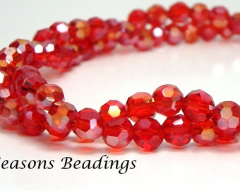100 Translucent Red AB 4mm Crystal Faceted Round Beads - Free Shipping to Canada