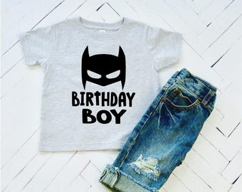 Birthday Boy, Superhero Birthday, Birthday shirts, Toddler Tee, Boy Birthday Clothes, Comic Book Heros, Batman, Birthday T-Shirts, First