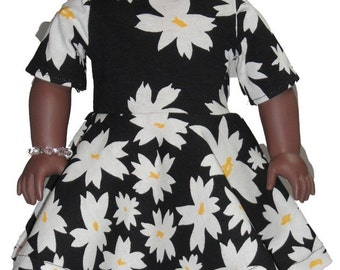 """Short Sleeve Knee Length 18"""" Doll Clothes White Daisy flowers on  Black Dress w/ Invisible Back Zipper"""