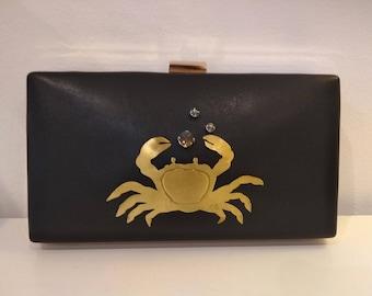 Clutch Hand bag crab Bronze Swarovski Crystal