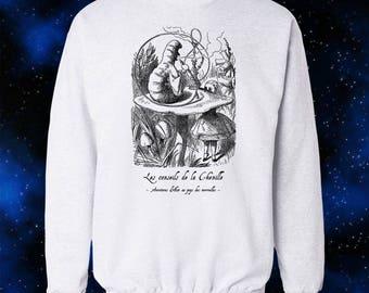 French Alice in Wonderland Sweatshirt - Hookah Caterpillar - Graphic Shirt - Cool Gift - Wearable Art - Artistic Sweatshirt - Graphic Shirt