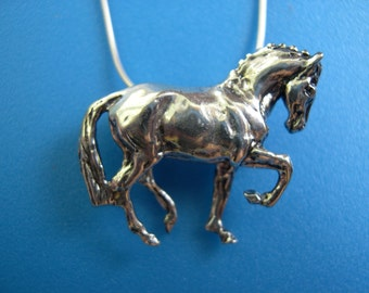 Dressage horse necklace STERLING SILVER pendant and chain Equestrian jewelry
