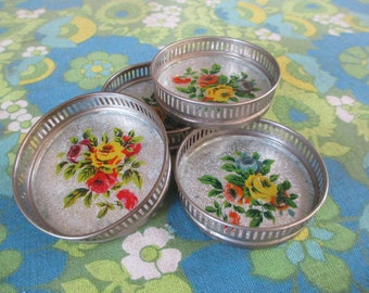 Antique Drink Coasters, Floral Coasters, Silver Plated, Sparkles, Drink and Barware, Jewelry holder