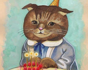 Happy Birthday Kitty Cat! Birthday sweets original Painting