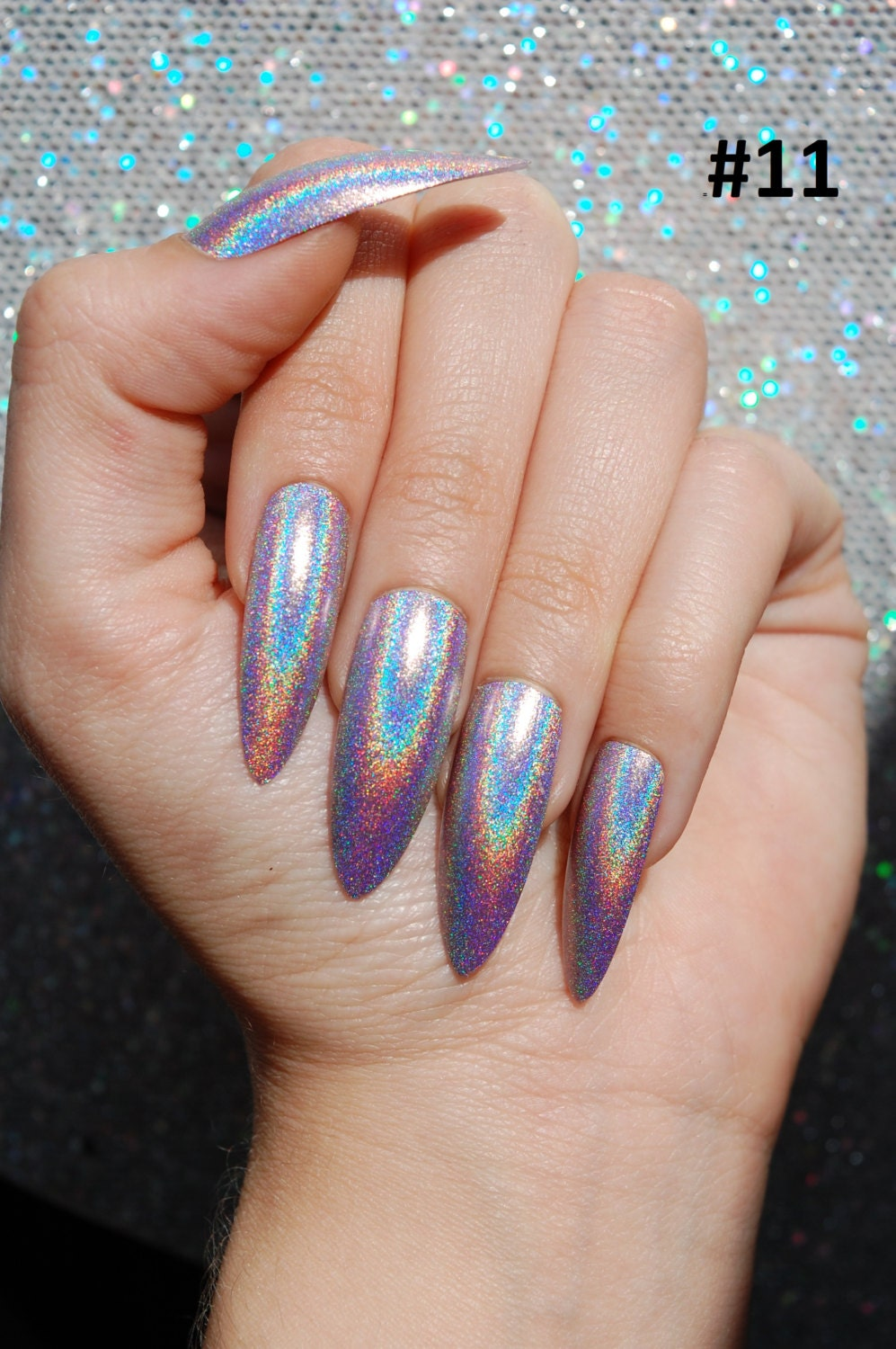 Stiletto Nails Fake Nails Matte Nails Blue Press On Nails: Holo XL Extra Long Stiletto Almond Nails COLOR OPTIONS Set