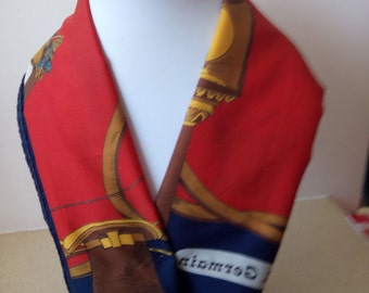 """Scarf/Wrape,30""""' x 30'', square, blue-red, pre-owned"""