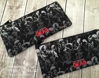 """Ready to SHIP """"Walking Dead"""" Zippered Pencil pouch, make up bag, organizer, Zombie pouch, small clutch, small tote"""