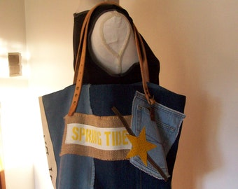 Denim and blue cotton linen canvas tote bag, Pocket denim, burlap and included, leather star and camel leather handles